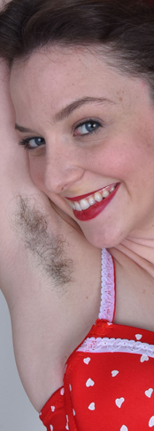 Girl with hairy armpits